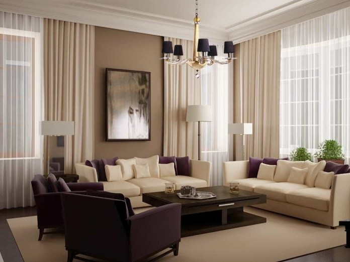 Living Room Design Ideas with White Curtain
