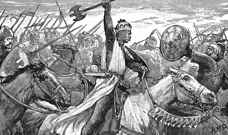 UNSPECIFIED - CIRCA 1754: Charles Martel (c688-741) 'The Hammer' using a battle axe while repulsing the Moors at the Battle of Tours, near Poitiers, 732. King of Franks from 719. Grandfather of Charlemagne (747-814). Wood engraving 1892. (Photo by Universal History Archive/Getty Images)