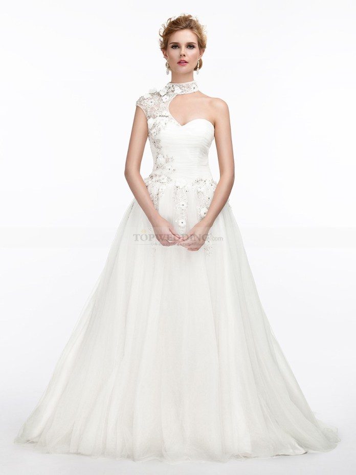 High-Neck-Tulle-Wedding-Dress-in-A-Line-Design