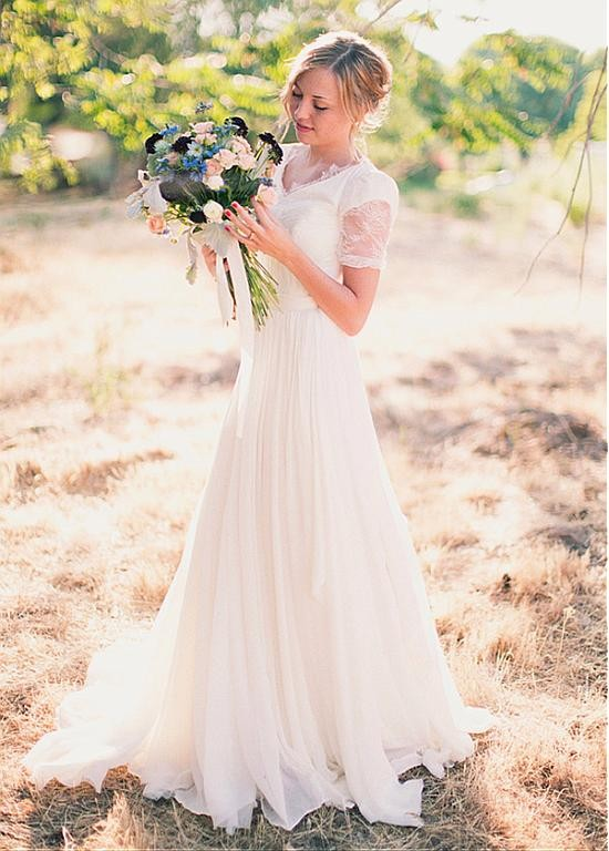 V-Neck-Chiffon-Floor-Length-Wedding-Dress-In-A-Line-Design-31