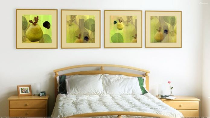 Wooden Bed And White Bedsheet In Couple Room