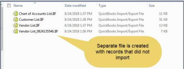 Separate file is created with records that did not import. QuickBooks Desktop 2019 upgrade