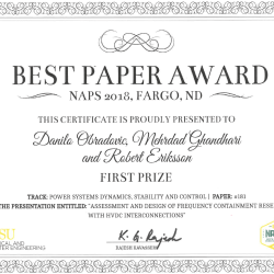 "NAPS 2018: First prize best paper award in ""Power Systems Dynamics, Stability and Control"""