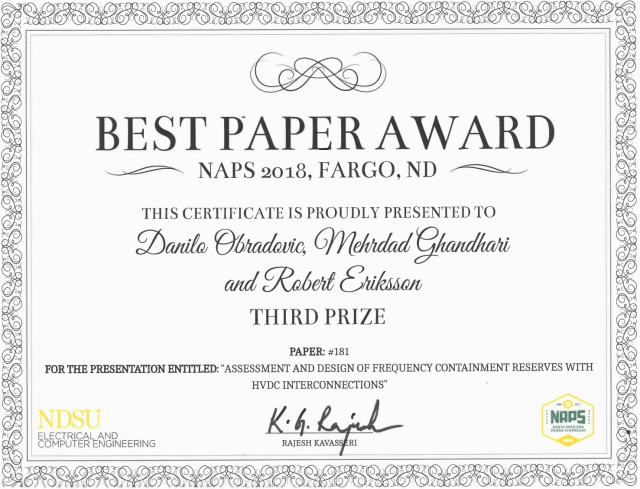 NAPS 2018: 3rd prize best paper award