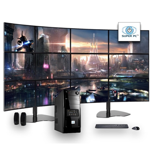 SUPER PC  Twelve Display Computer and 12 x Curved Monitor