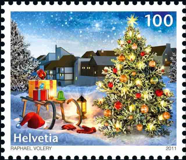 Timbre - Le sapin symbole incontournable des Fêtes de Noël.