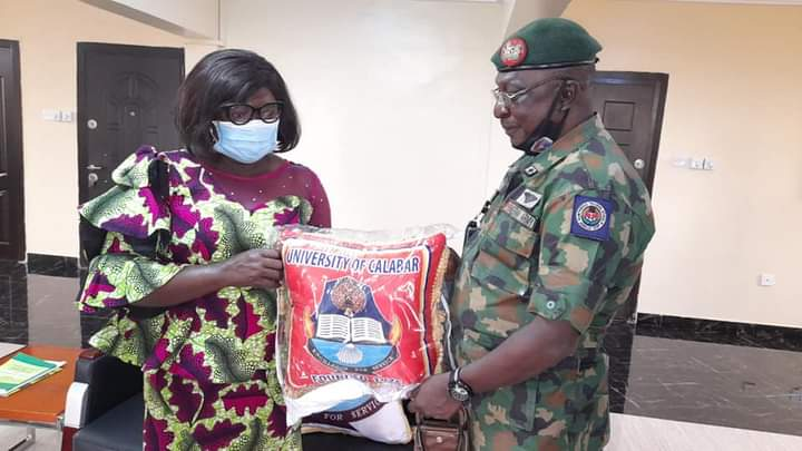 The Vice-Chancellor of the University of Calabar, received the Commandant of Nigerian Army Amphibious Training School, Calabar