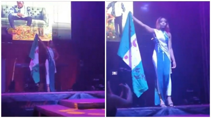 (Videos) Miss Africa Russia pageant, Udeh Chiamaka Victoria reveals her reason behind blood stained on Nigerian flag