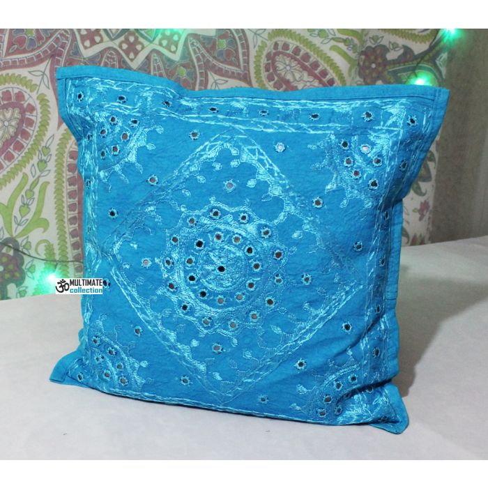 blue bohemian accent 16x16 decorative mirrored throw pillow cover