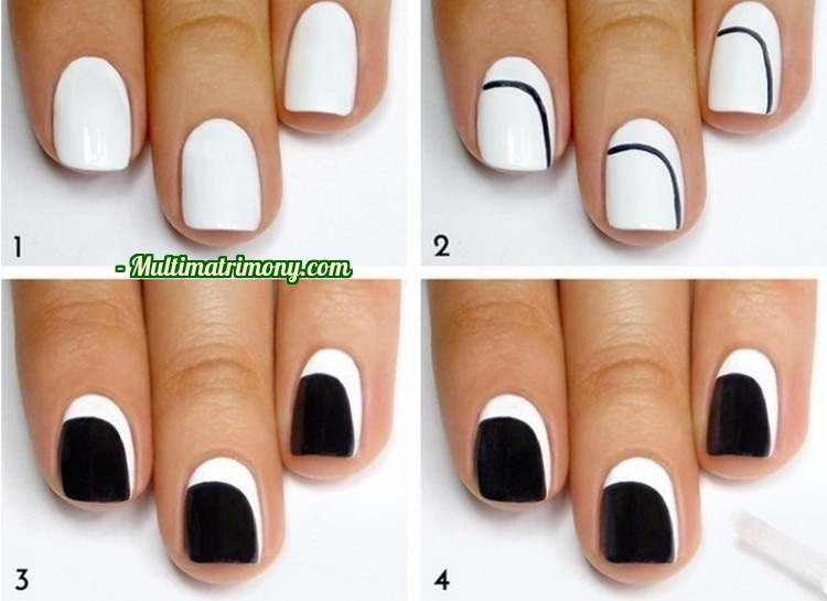 This Super Simple Design Will Have Everyone Looking And It Ll Look Right Back Simply Paint A Curved Line On Each Of Your Nails Fill Them In With Black