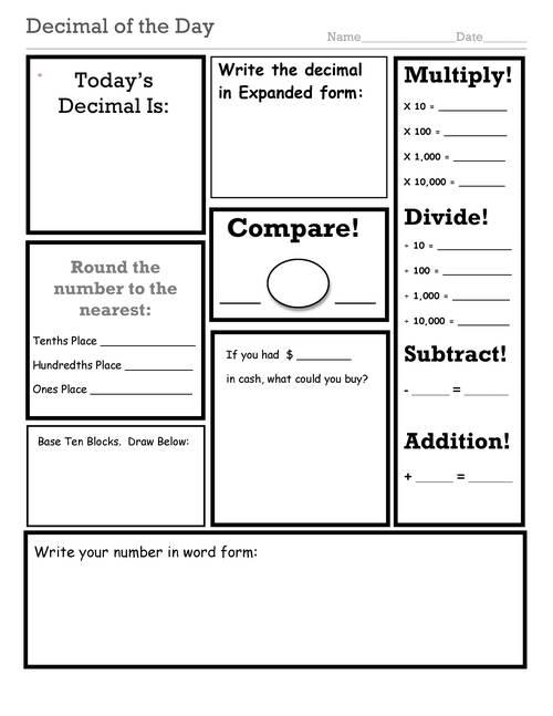 Comparing Decimals Worksheet 5th Grade - Free Worksheet