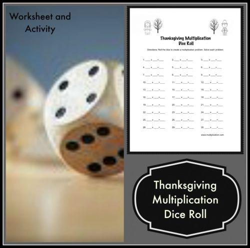 small resolution of Thanksgiving Multiplication Dice Roll Worksheet
