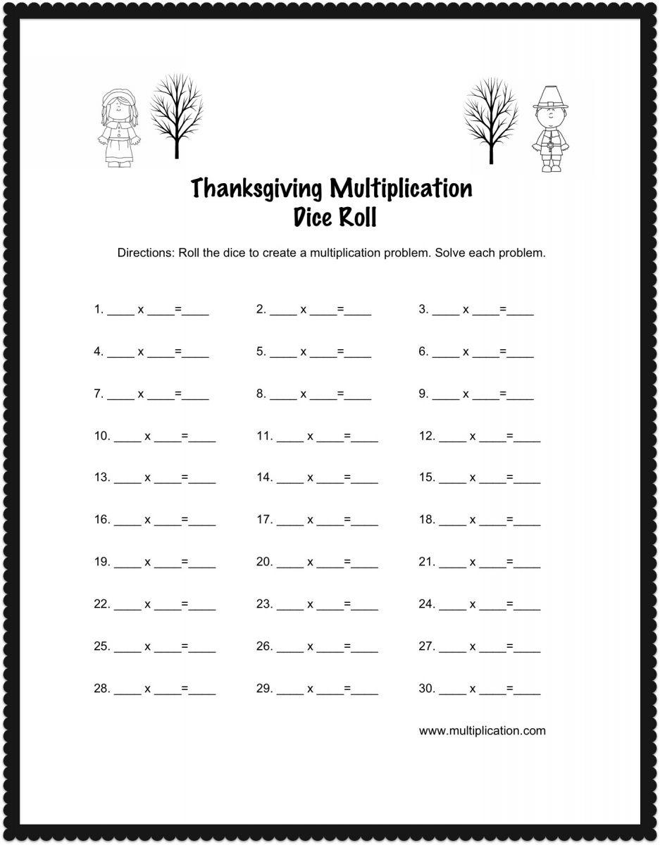 hight resolution of Thanksgiving Multiplication Dice Roll Worksheet