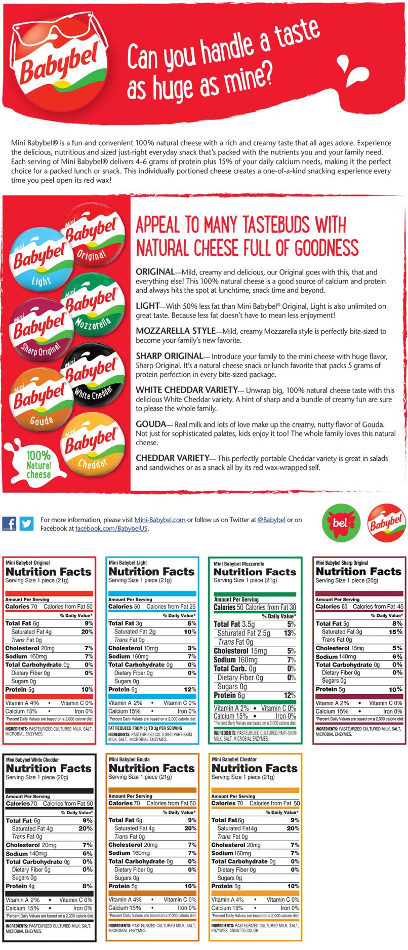 how many calories babybel light www