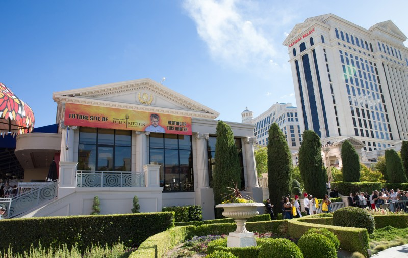 Banner heralds upcoming Gordon Ramsay Hell's Kitchen restaurant at Caesars Palace in Las Vegas. Photo credit Erik Kabik