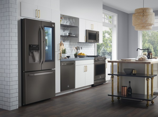Kitchen Black Appliances with Stainless Steel