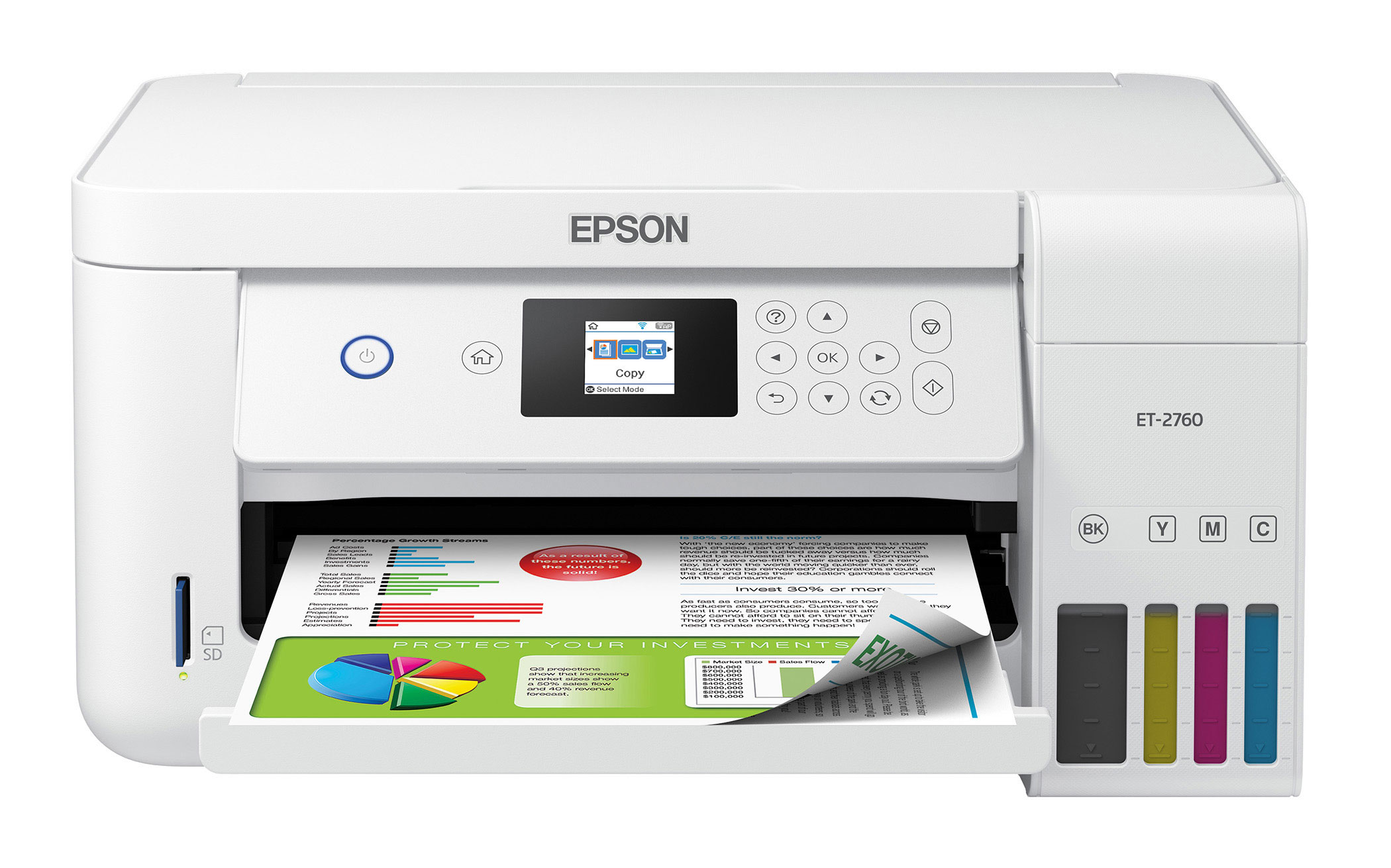 The Epson EcoTank ET-2760 All-in-One Supertank Printer offers wireless, auto 2-sided and voice-activated printing.