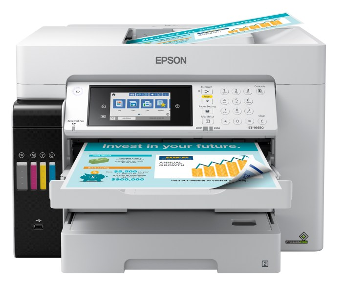 """The EcoTank Pro ET-16650 wireless all-in-one printer offers fast cartridge-free printing with easy-to-fill supersized ink tanks, designed for reliable, cost-effective and feature-rich printing up to 13"""" x 19"""""""