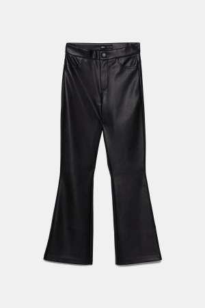 Leather cropped flares