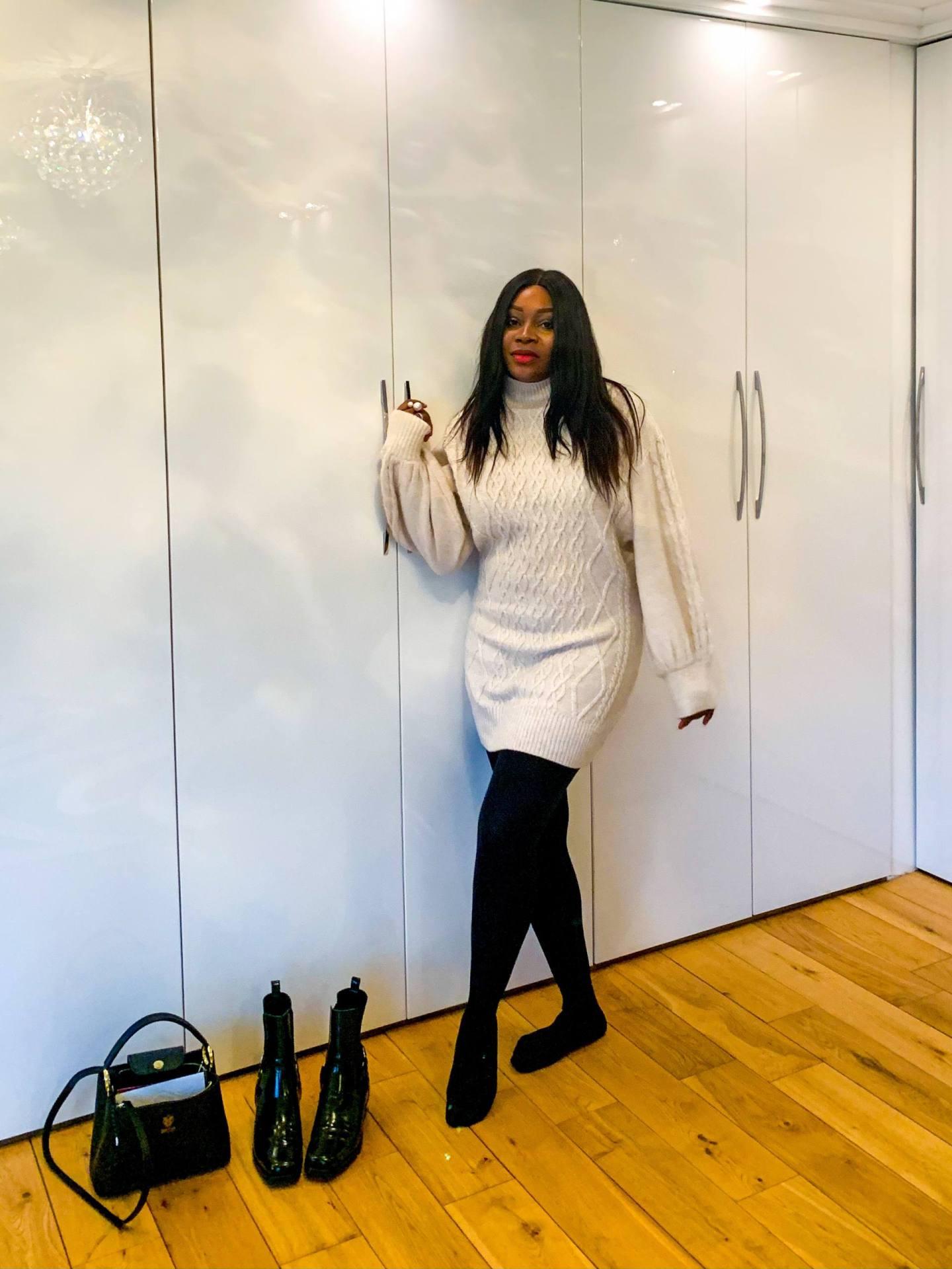 Ayesha Amato Mum a Porter in jumper dress