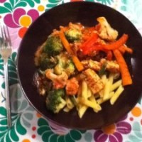 Thursday - veg and pasta with quorn