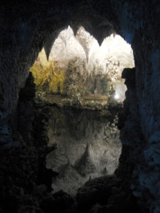 The Grotto at night at Painshill Park