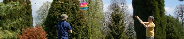 Flying a kite with no wind at Nymans