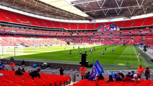 Wembley Stadium players warm up, women's fa cup final 2016
