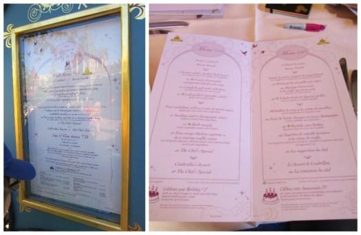 menus at Auberge de Cendrillon