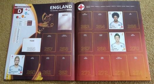 UEFA Womens Euro 2017 Panini Sticker Book England page