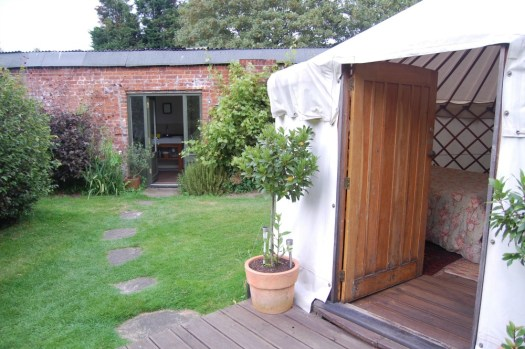 Short Essex Family Break Woodpecker Yurt shower block and kitchen