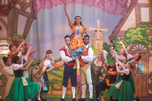 Charlotte Bramwells (Princess - centre) and cast members of Jack and the Beanstalk at Waddon Leisure Centre (photo James Spicer)