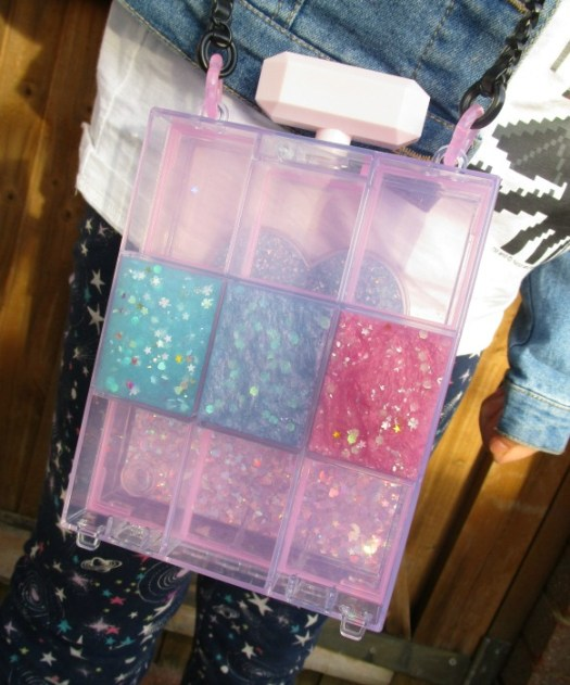 Glam Goo bag with three compartments filled