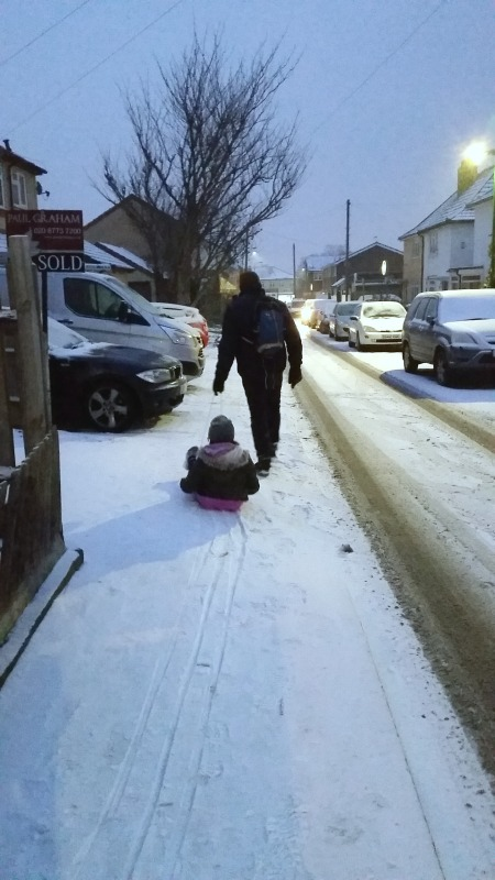 sledging home again on our sledge from trespass
