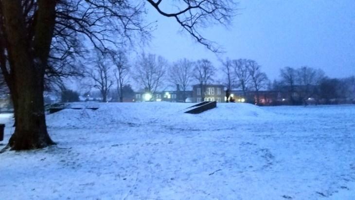 snowy air raid shelters at The Wrythe, Carshalton