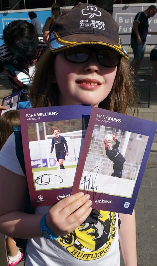 Fara and Mary autographs, Women's FA Cup Final 2018
