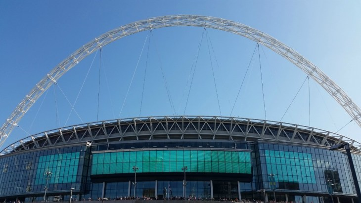 Wembley Stadium from outside, in the sun, Women's FA Cup Final 2018