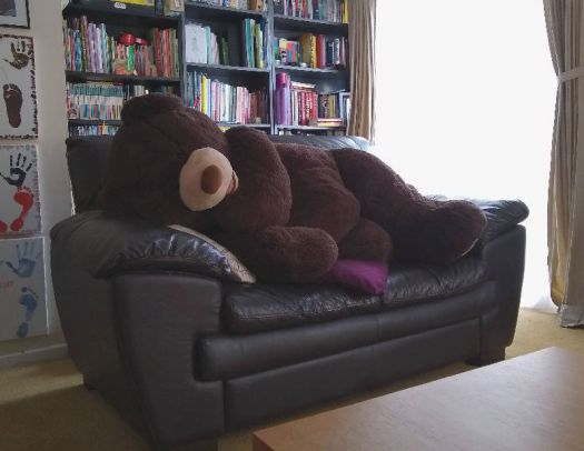 Hagrid the bear in bed