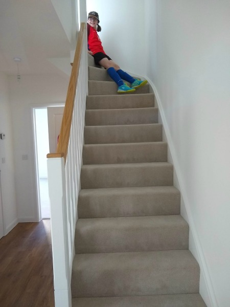 moving house, the stairs with H on them