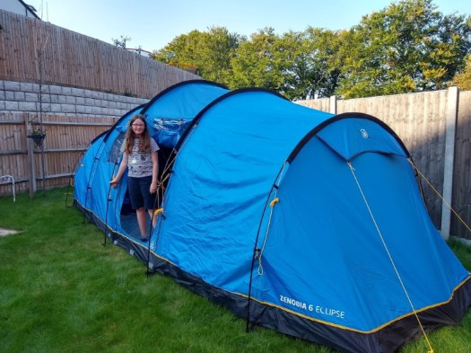 Zenobia 6 tent without the porch, pitched in back garden for idea of size. Bought a tent.