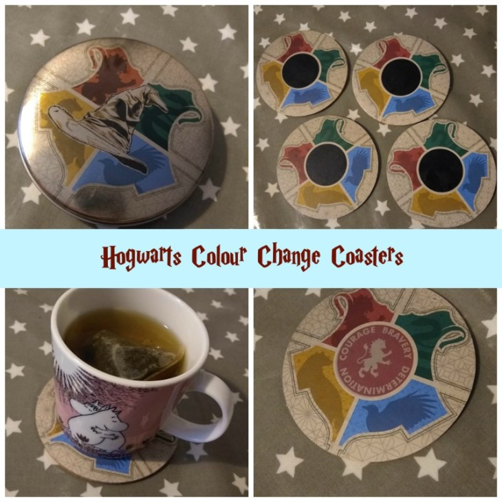 Harry Potter Hogwarts Colour change coaster showing all stages of colour change.