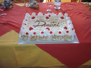 Torta con panna montata e crema pasticcera creata a mano per battesimo