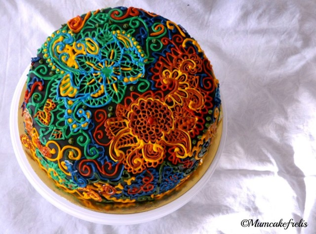 fiori in ghiaccia reale royal icing flower cake  mom birthday cake desigual style flower cake