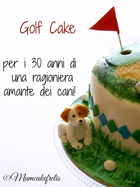 torta golf per 30 compleanno con cane e calcolatrice in pasta di zucchero