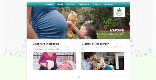 presentazione del nuovo sito Disney Baby italiano con sezioni dedicate e articoli fatti dalle blogger italiane portale Disney Baby