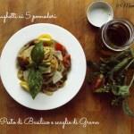 Spaghetti ai cinque pomodori con pesto Genovese e scaglie di Grana