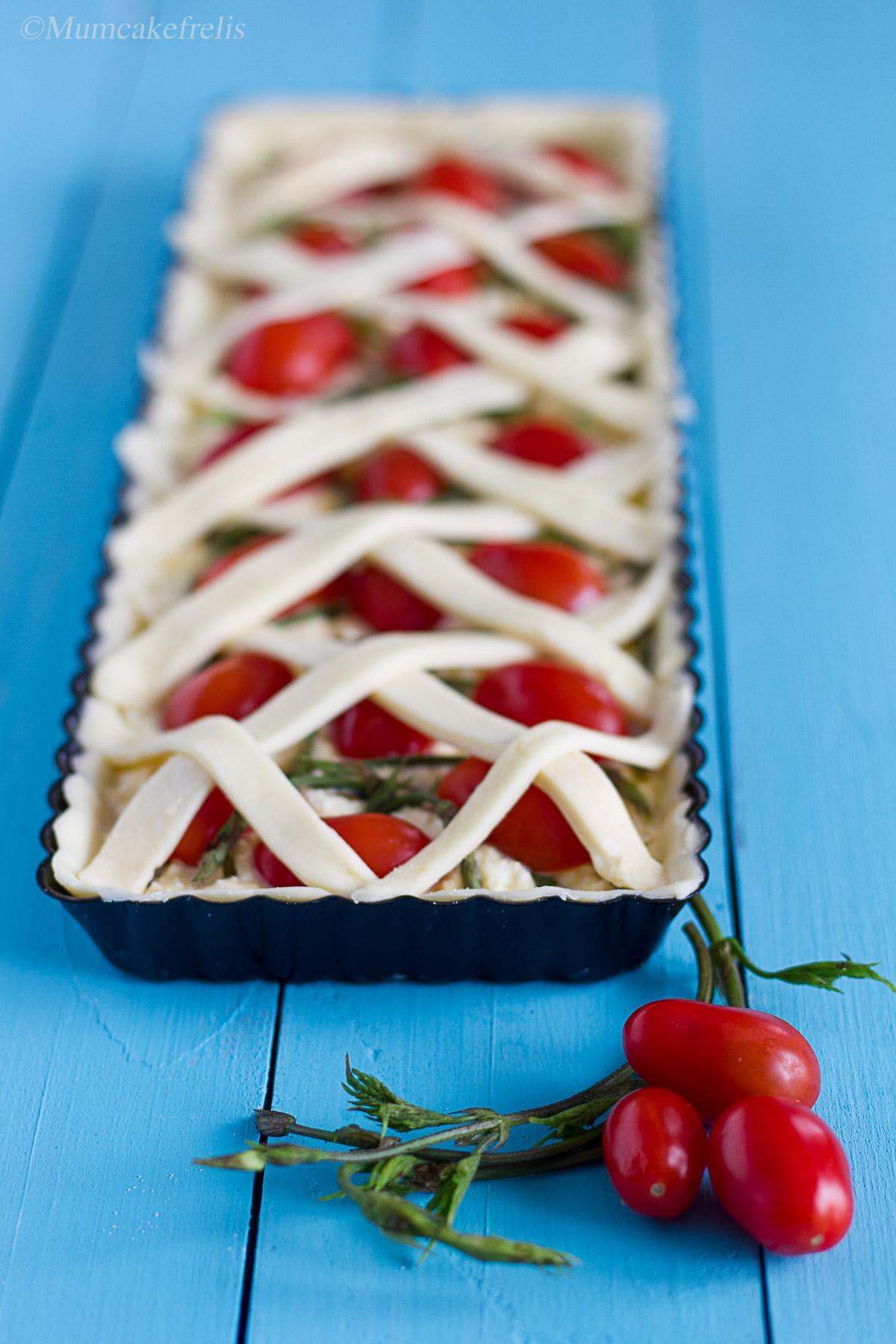 Torta salata con germogli di luppolo