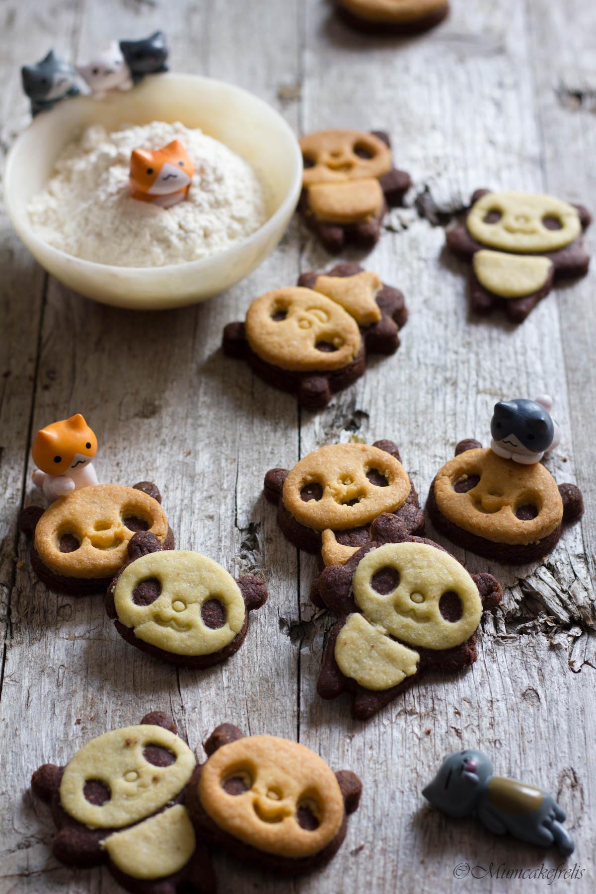 biscotti panda bicolore