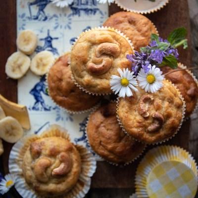 Muffin alla banana e noci di acagiù.                                        5/5(1)