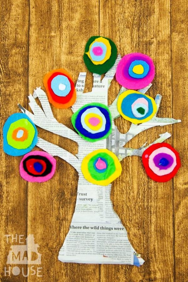 Kandinsky Inspired Tree With Felt Scraps - Mum In